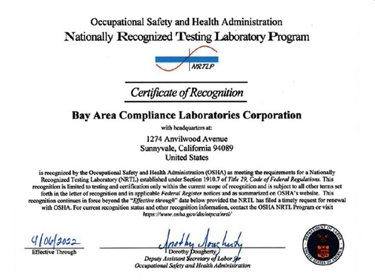 North American Approvals-Bay Area Compliance Laboratories Corp.